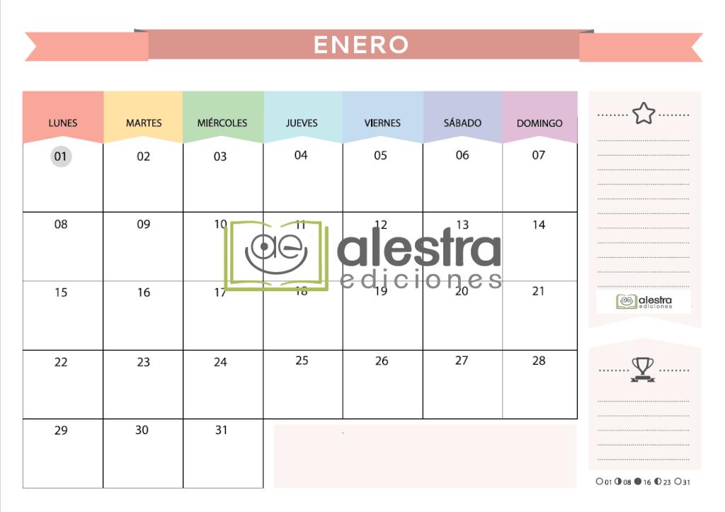 Planificador Mensual 2018 imprimible a color • Tienda Alestra Ediciones